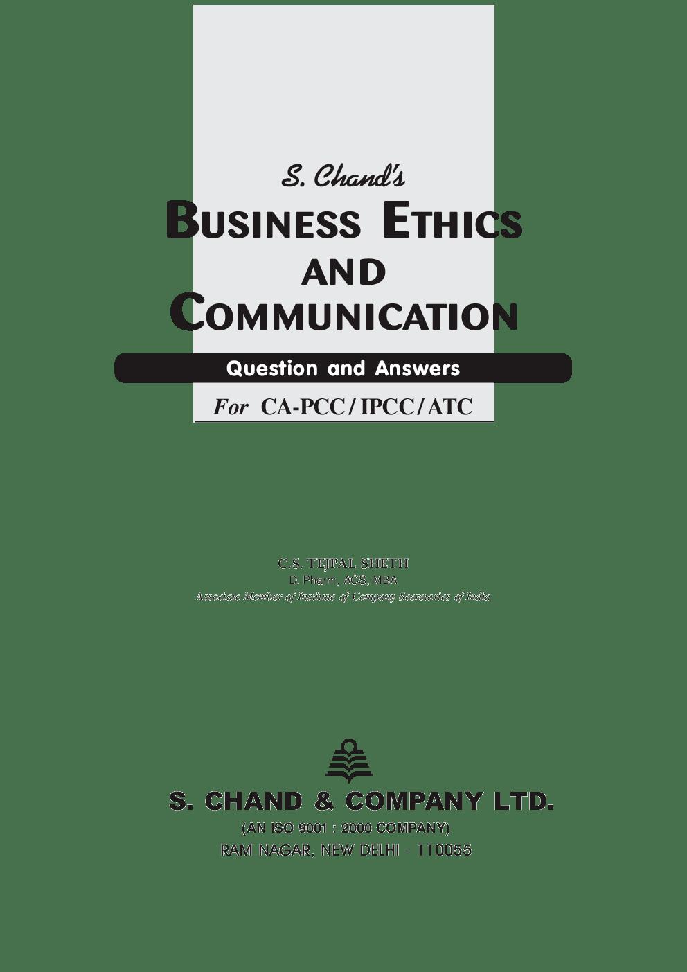 Download Business Ethics And Communication (CA-PCC / IPCC