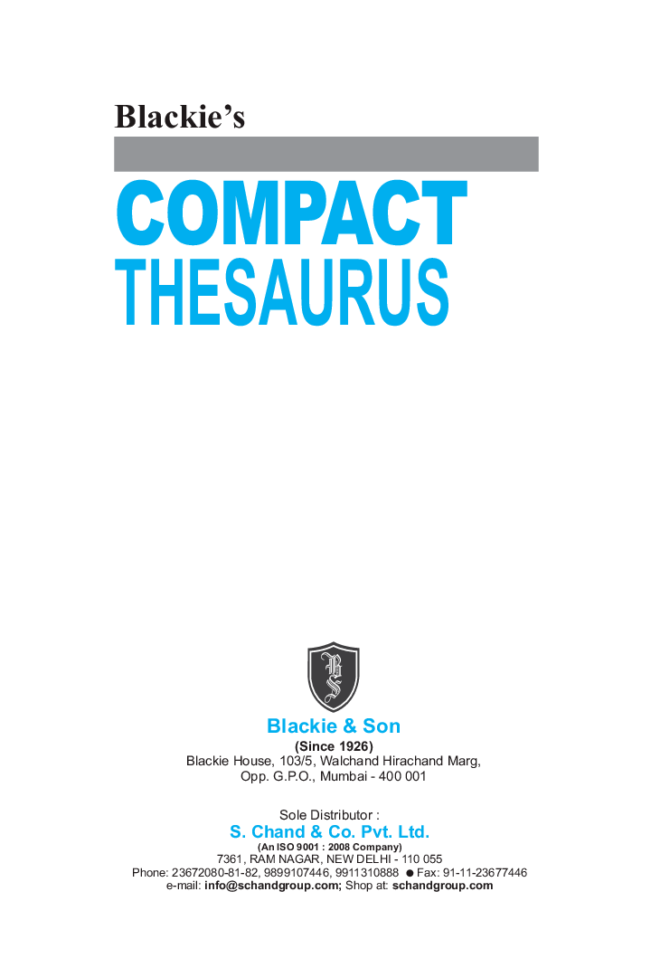 Download Blackie's Compact Thesaurus by Blackie PDF Online