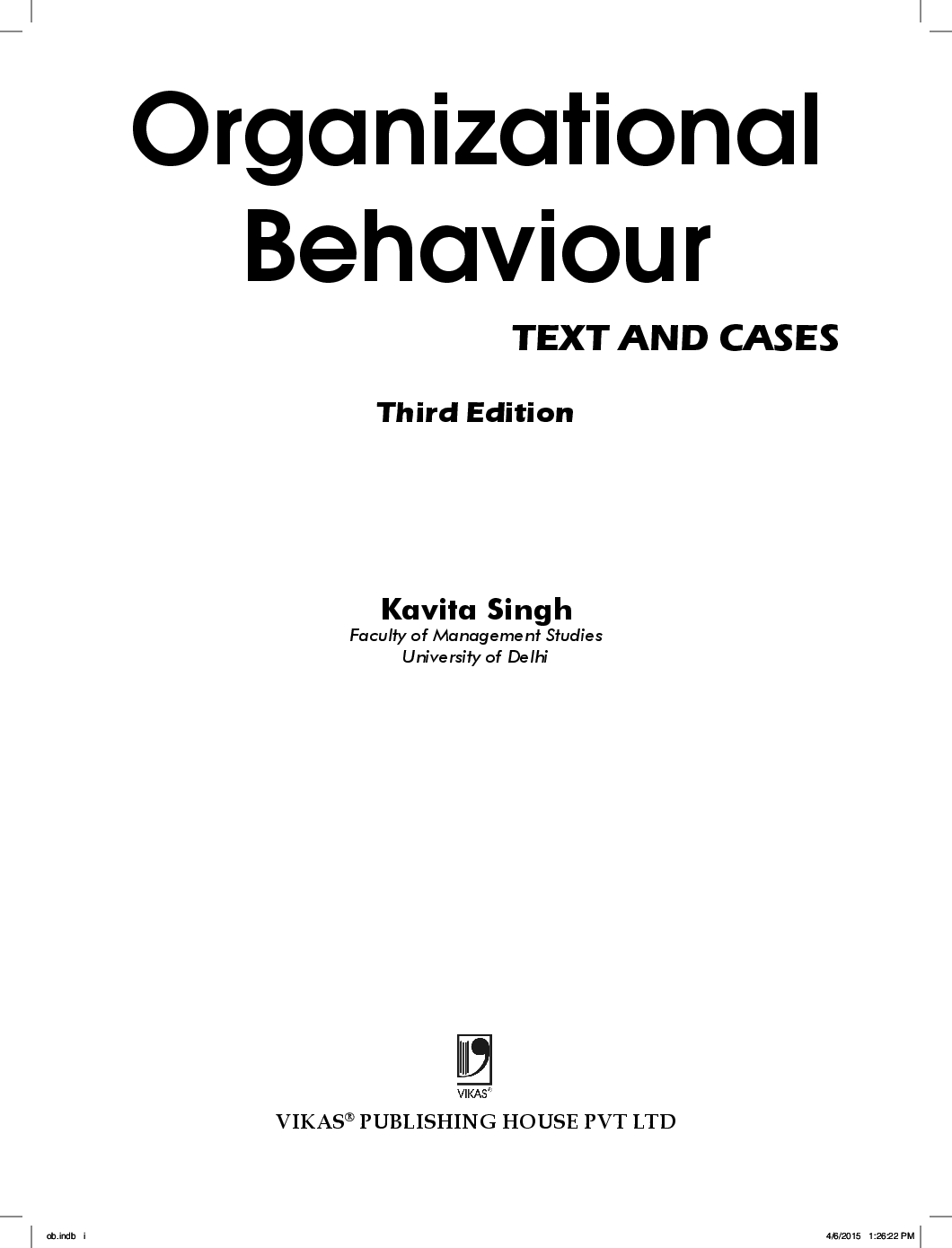 Download Organizational Behaviour: Text And Cases by