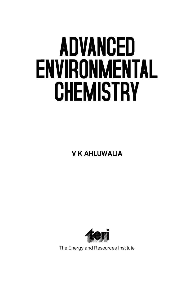 Download Advanced Environmental Chemistry by V K Ahluwalia