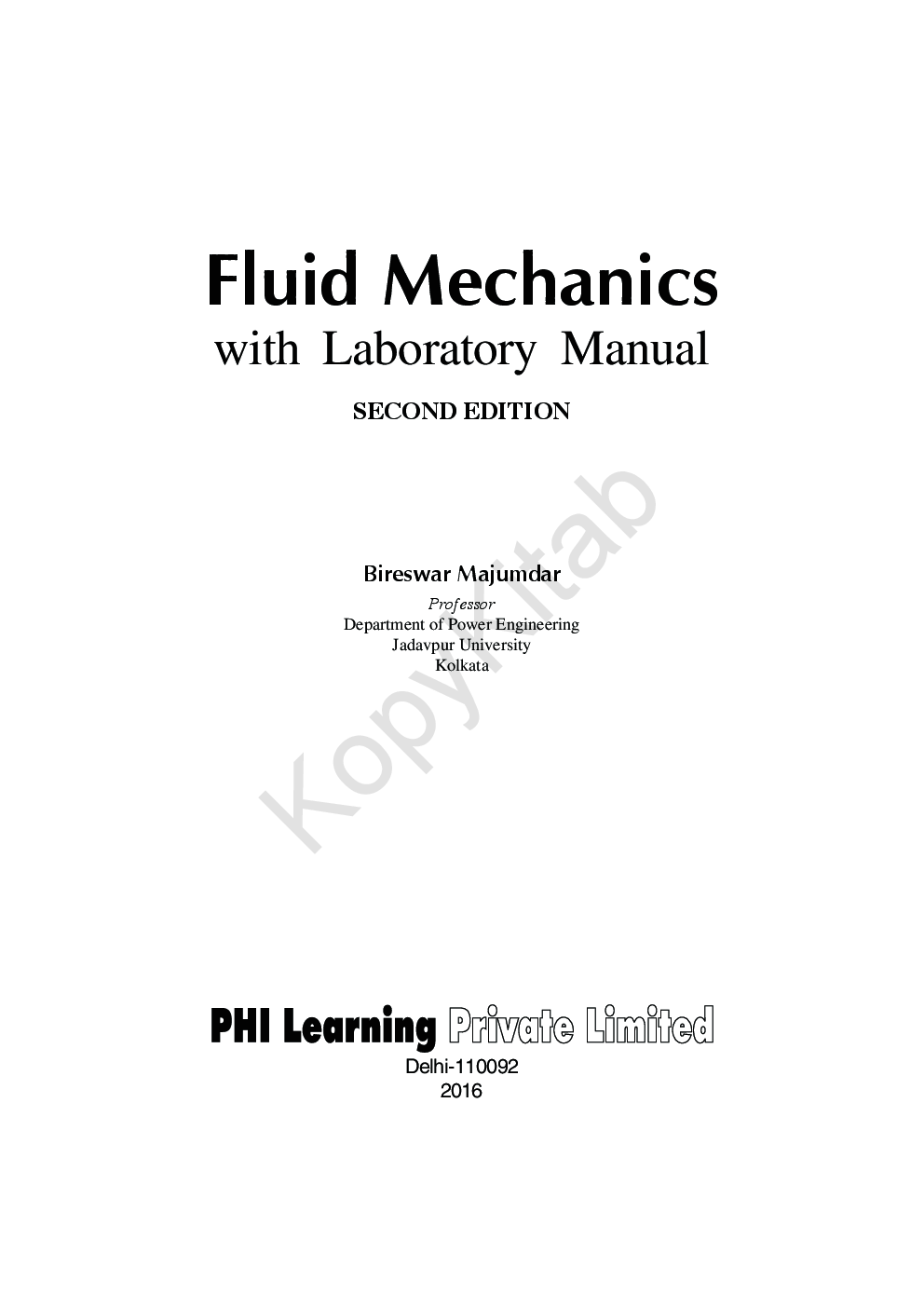Download Fluid Mechanics With Laboratory Manual by