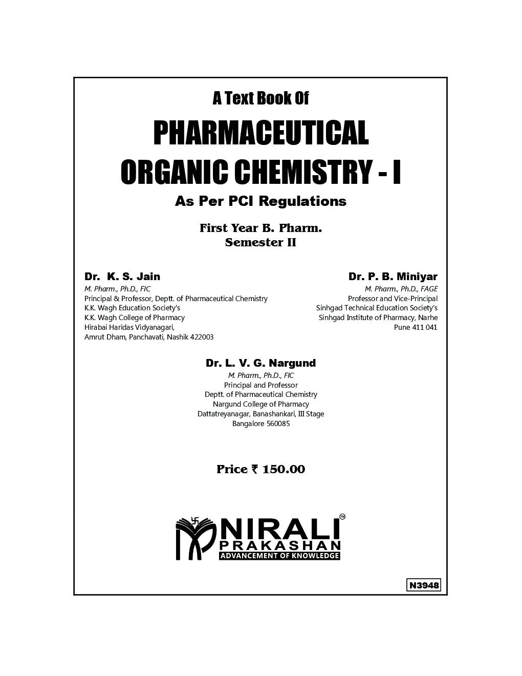 Download Nirali Pharmaceutical Organic Chemistry-1 PDF