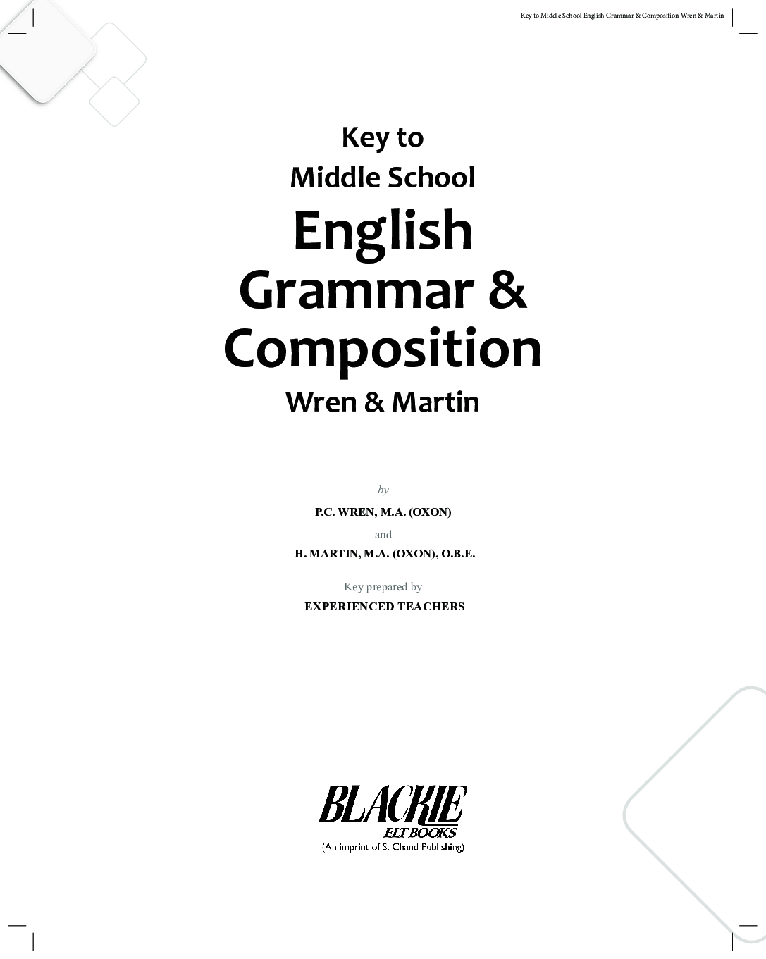 Download Key To Middle School English Grammar And