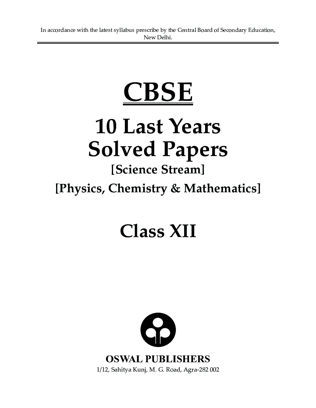 Download Oswal CBSE Class 12th Science Stream Last 10