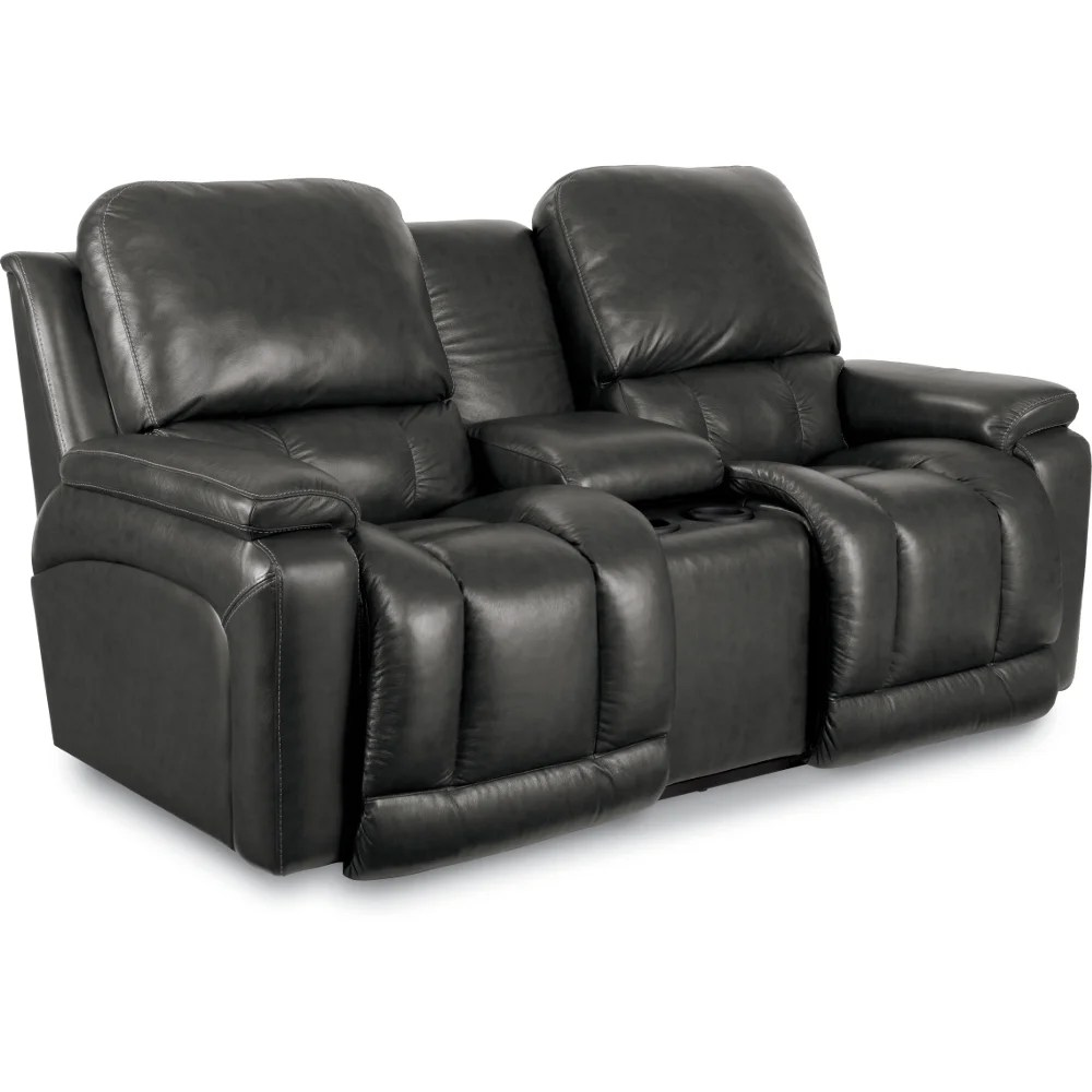 la z boy collins sofa reviews leather pillows sliding greyson la-z-time® full reclining loveseat w/ console