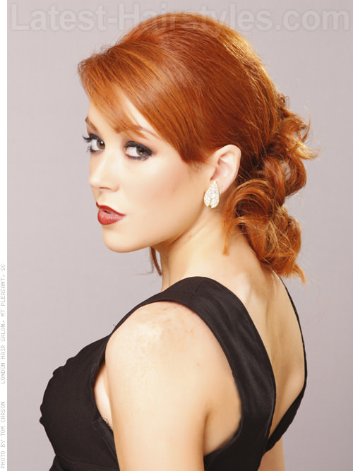 Pin Curled Pony Loose Easy Prom Style with Bangs