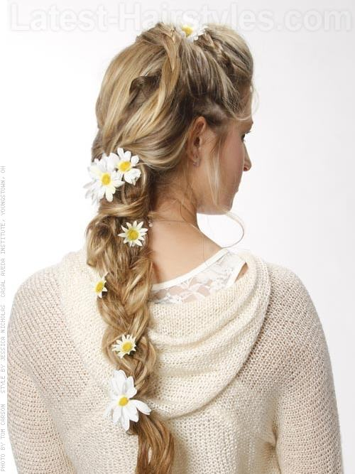 Daisy Decorated Long Braid Blonde hair - Back View