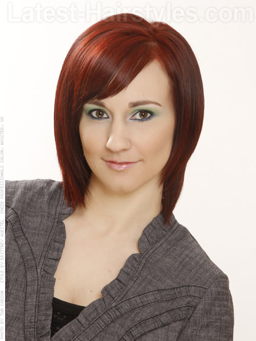 Rebel Layers Red Tapered Bob with Highlights