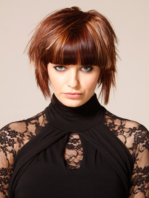 Short Brown Casual Highlighted Bob With Layers