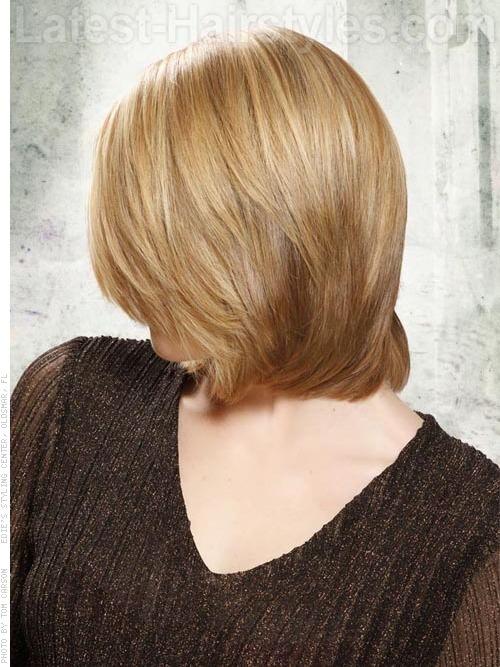 Triangular Long Bob Side View with Layers