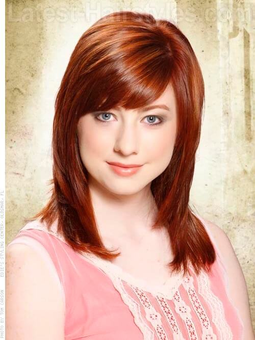 Medium Reddish Brown Red Hair with Fringe