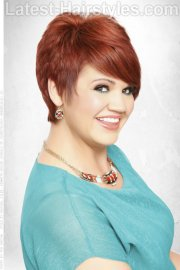 short hairstyle with bold red color