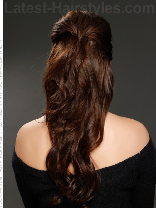 The Half Up Long Brunette Party Style with Ringlets Back View