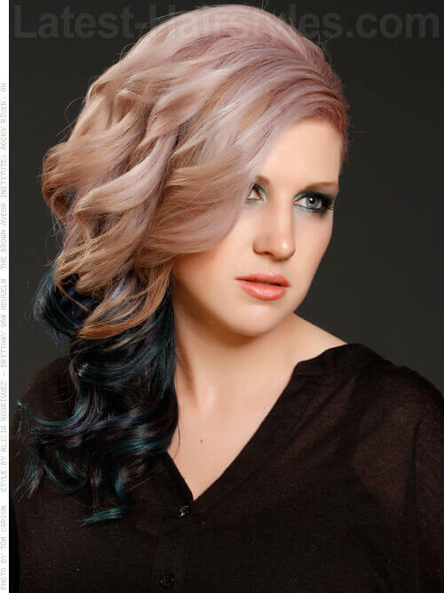 Long Haircut with Black and Teal Ends