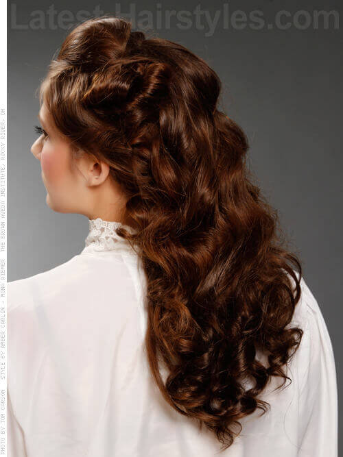 Vintage Inspired Haircut with Updated Loose Curls Back View