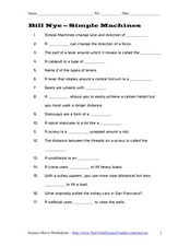 Bill Nyesimple Machines 3rd  5th Grade Worksheet  Lesson Planet