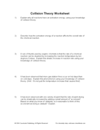 Collision Theory Worksheet 10th - Higher Ed Worksheet ...