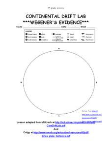 Continental Drift Labwegener's Evidence 7th Grade