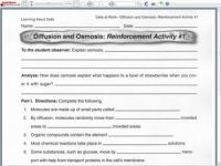 Diffusion and Osmosis 9th - 10th Grade Worksheet | Lesson ...