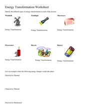Energy Transformation Worksheet 5th - 8th Grade Worksheet ...