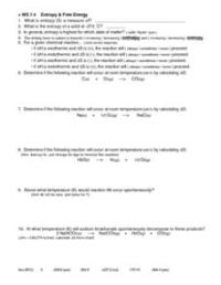 Entropy and Free Energy 11th - Higher Ed Worksheet ...