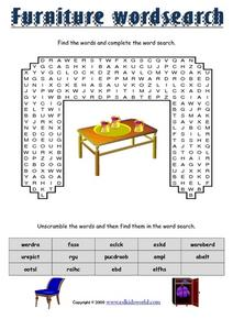 Furniture Word Search 3rd 6th Grade Worksheet Lesson