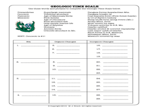 Geologic Time Scale 8th  10th Grade Worksheet  Lesson Planet