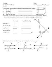 Geometry: Chapter 3 Review Sheet 7th - 10th Grade ...