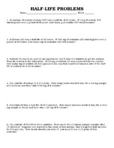 Halflife Problems 9th  12th Grade Worksheet  Lesson Planet