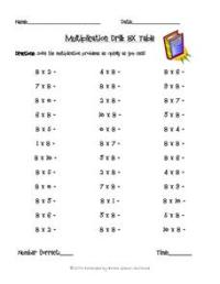 Multiplication Drill: 8x Table 3rd - 4th Grade Lesson Plan ...