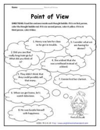 Point of View 3rd Grade Worksheet