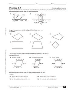 Practice 61 Classifying Quadrilaterals 9th  11th Grade Worksheet  Lesson Planet