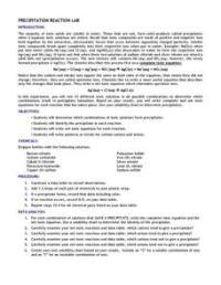 Precipitation Reaction Lab 11th - 12th Grade Worksheet ...