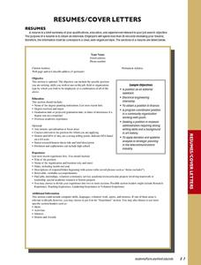 Resumescover Letters 9th  Higher Ed Lesson Plan Lesson