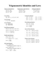 Trigonometric Identities and Laws 10th - 12th Grade ...