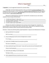 What Is Hyperbole? 9th - 12th Grade Worksheet | Lesson Planet