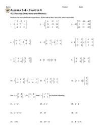 Matrix Worksheets - Geersc