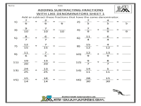 Like Unlike Fractions Worksheets - adding and subtracting ...