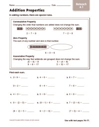 Worksheet On Addition Properties - addition multiplication ...