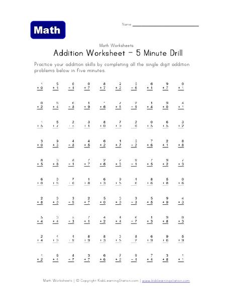 Addition Worksheets  Addition Worksheets Drills