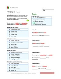 7th Grade  Analogy Worksheets For 7th Grade - Printable ...