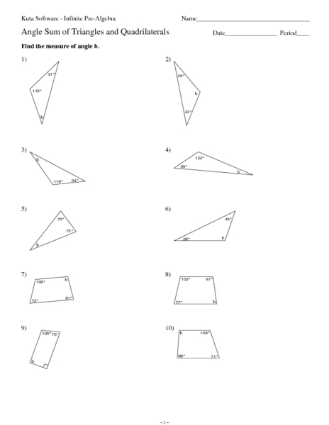 Triangle Interior Angles Worksheet. triangle sum theorem