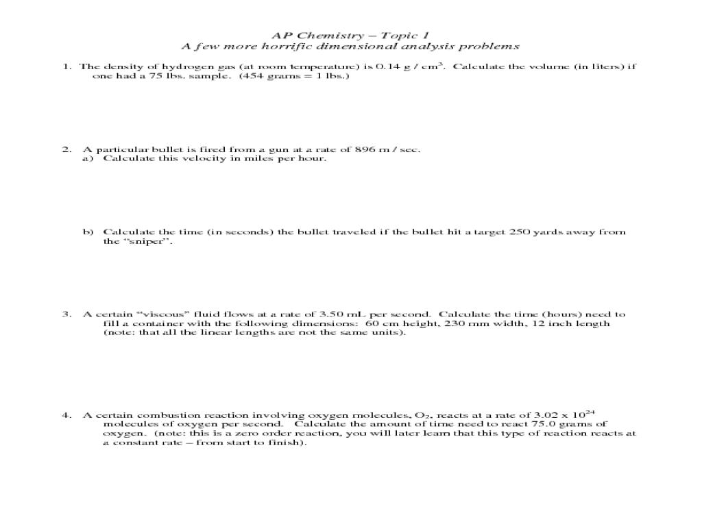 Dimensional Analysis Homework Help [ 768 x 1024 Pixel ]