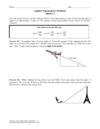Trigonometry Problems Worksheet - Bluegreenish