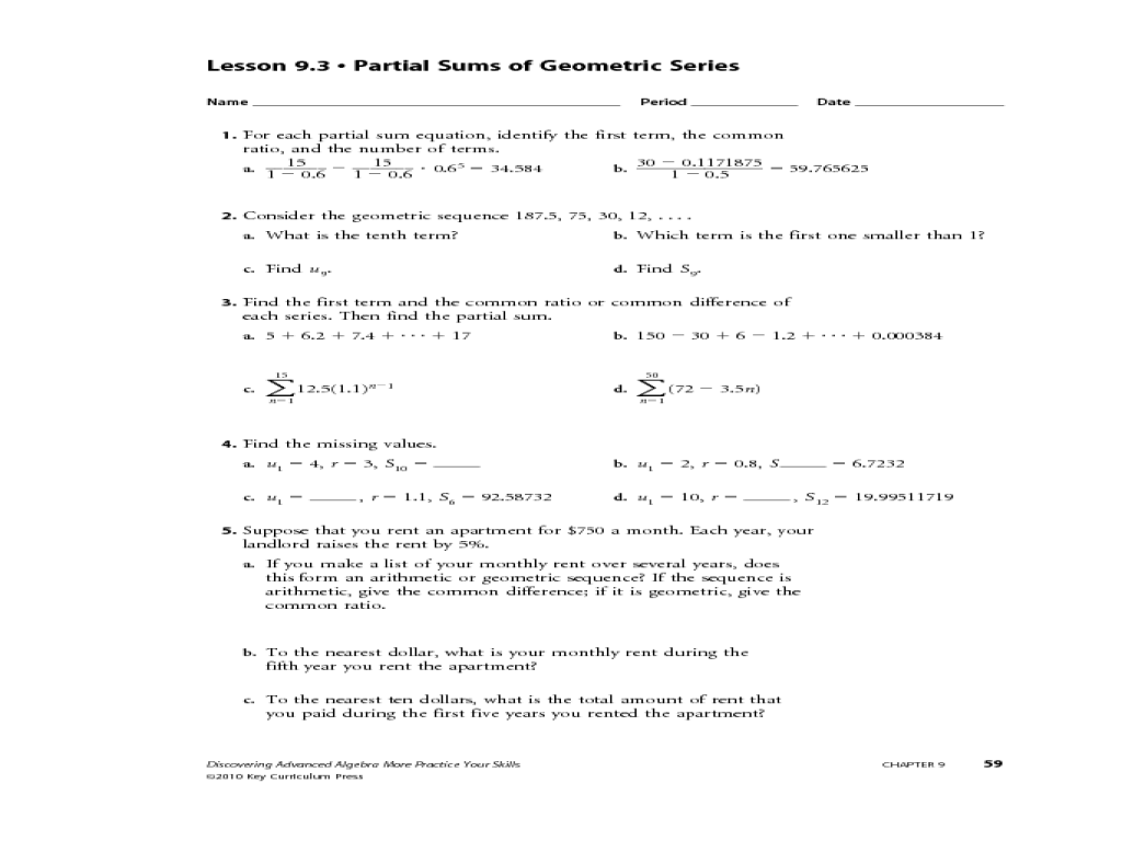 Arithmetic And Geometric Sequences Worksheet Answers