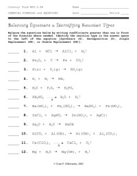 Balancing Equations And Reaction Types Worksheet Answers ...