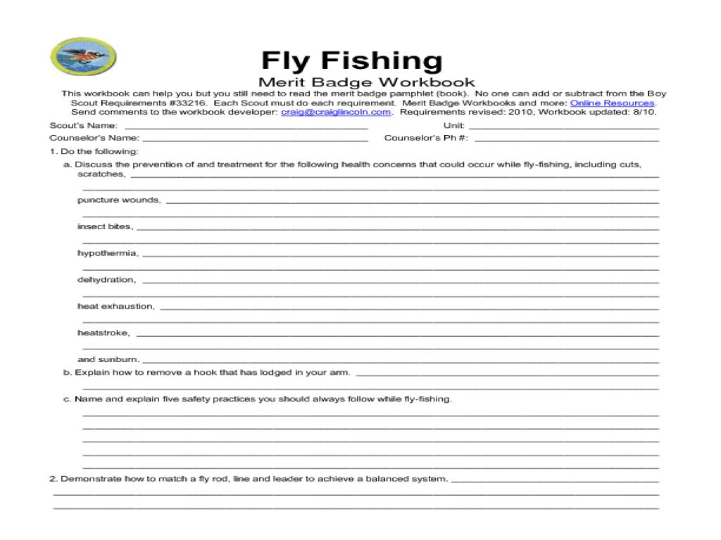 Printables. Fishing Merit Badge Worksheet. Mywcct