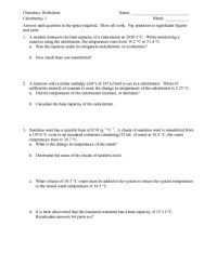 Calorimetry Worksheet. Worksheets. Ratchasima Printable ...