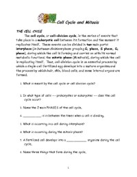Cell Division And Mitosis Worksheet - plant animal cells ...