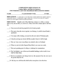 Comma Splice Worksheets Free Worksheets Library